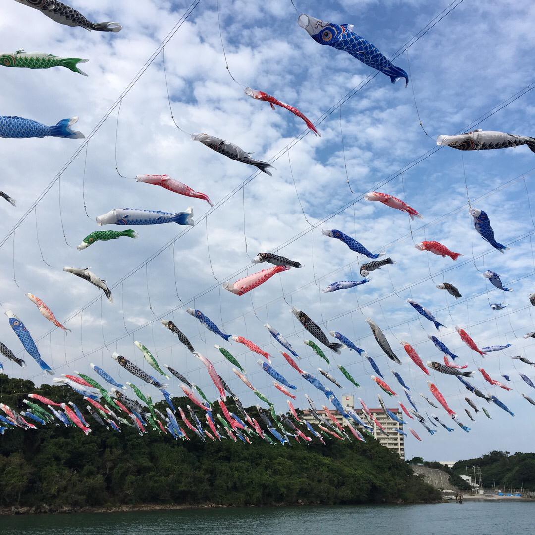 比謝川ではこいのぼりが約200匹泳いでいます。今年ははしかの感染拡...