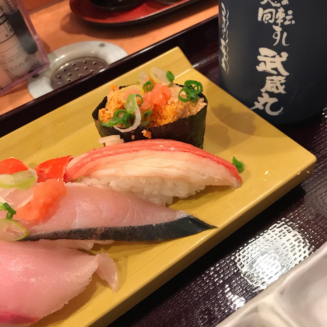 夜は豊川で有名な⁇回転寿司へ〜 1時間半待ちでした! #武蔵丸