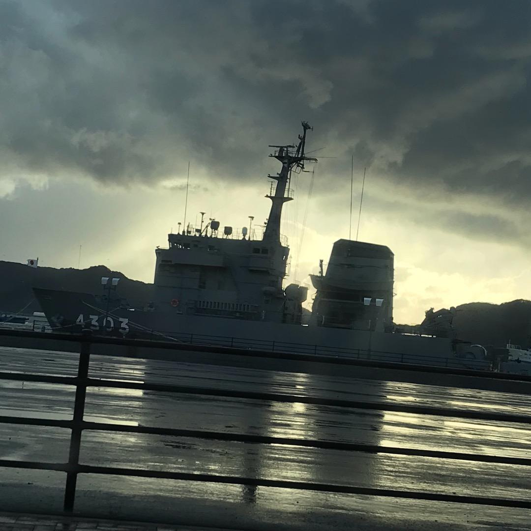 海上自衛隊ひうち型多用途支援艦の3番艦あまくさ。佐世保バーガー巡り...