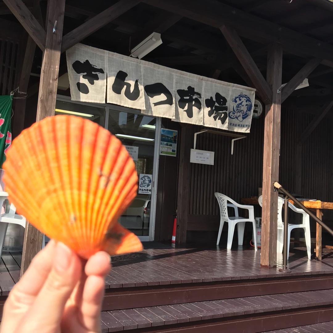 きんつ市場。カラフルなひおうぎ貝。 崎津集落の奥の港にあるこちらの...