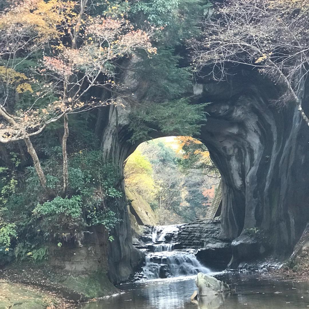 亀岩の洞窟の中の濃溝の滝 朝だと隙間から木漏れ日が差し込んで、更に...